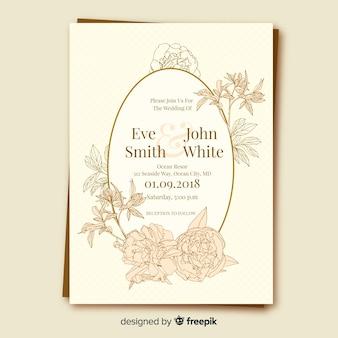 Modelo de cartão de casamento floral com moldura dourada