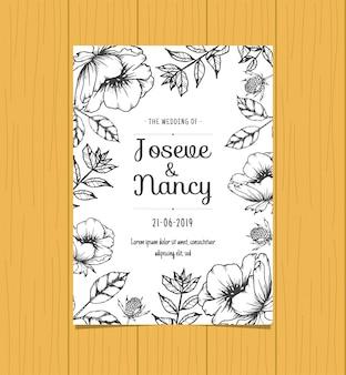 Modelo de cartão de casamento floral de mão desenhada