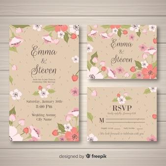 Modelo de cartão de casamento floral desenhado de mão