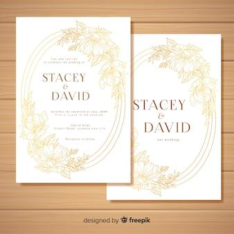 Modelo de cartão de casamento floral dourado