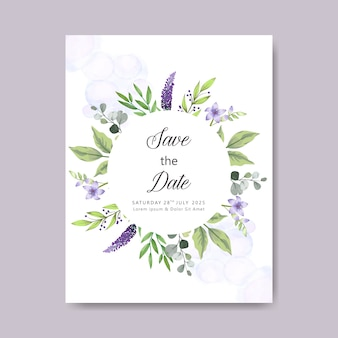 Modelo de cartão de casamento floral elegante e bonito