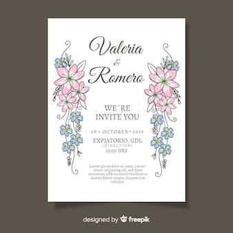 Modelo de cartão de casamento floral elegante