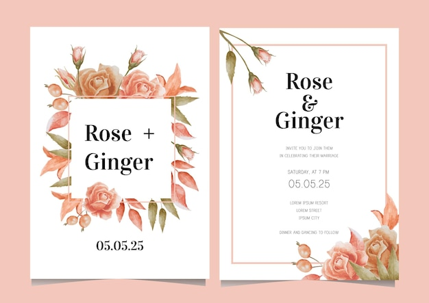 Modelo de cartão de casamento floral em aquarela