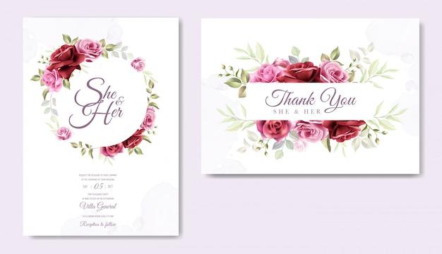Modelo de cartão de casamento floral lindo