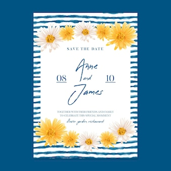 Modelo de cartão de casamento floral mínimo