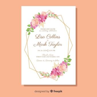 Modelo de cartão de casamento floral plana