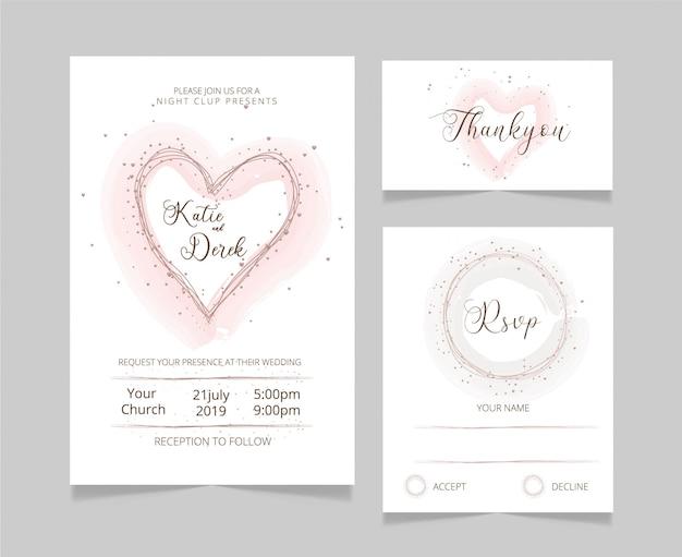 Modelo de cartão de casamento floral rsvp e thankyou cartão