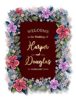 Modelo de cartão de casamento floral tulip