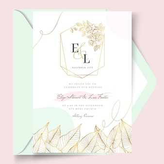 Modelo de cartão de casamento floral