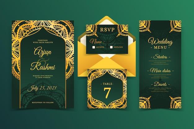 Modelo de cartão de casamento indiano elegante