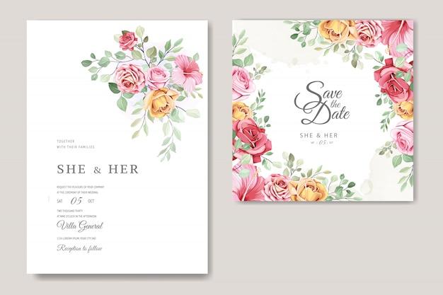 Modelo de cartão de casamento lindo com lindas flores e folhas