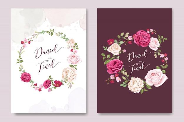 Modelo de cartão de casamento lindo com rosas marrons coloridos