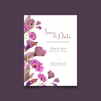 Modelo de cartão de casamento lindo quadro floral