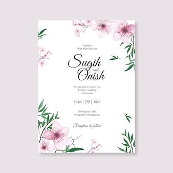 Modelo de cartão de casamento minimalista com aquarela floral