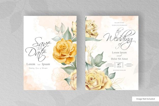 Modelo de cartão de casamento minimalista com elementos florais e aquarela desenhados à mão