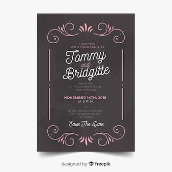Modelo de cartão de casamento ornamental vintage elegante