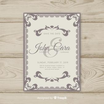 Modelo de cartão de casamento ornamental