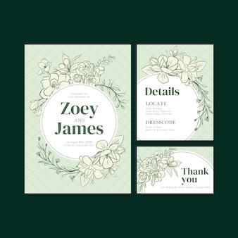Modelo de cartão de casamento para convite e casamento