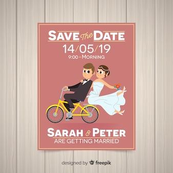 Modelo de cartão de casamento plana