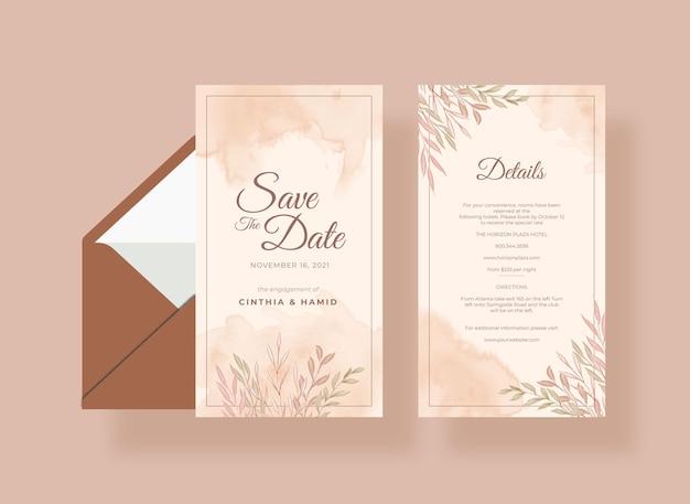 Modelo de cartão de casamento romântico e elegante
