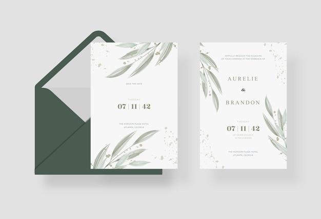 Modelo de cartão de casamento simples e minimalista