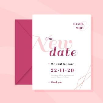 Modelo de cartão de casamento tipográfico adiado