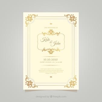 Modelo de cartão de casamento vintage com estilo elegante