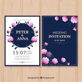Modelo de cartão de casamento vintage com estilo floral
