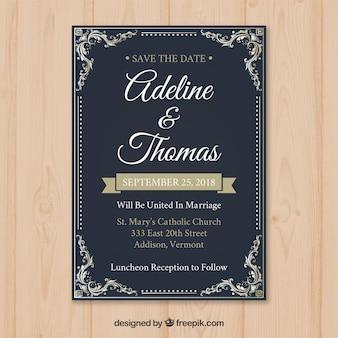 Modelo de cartão de casamento vintage com estilo retro