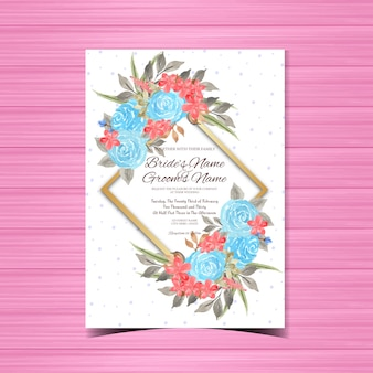 Modelo de cartão de casamento vintage com moldura de flor