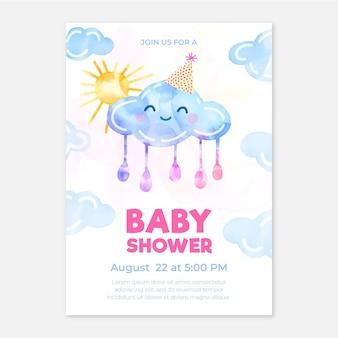 Modelo de cartão de chá de bebê chuva de amor
