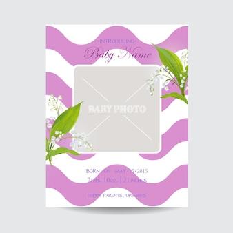 Modelo de cartão de chegada de chá de bebê com moldura