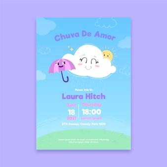 Modelo de cartão de chuveiro de bebê desenhado à mão chuva de amor