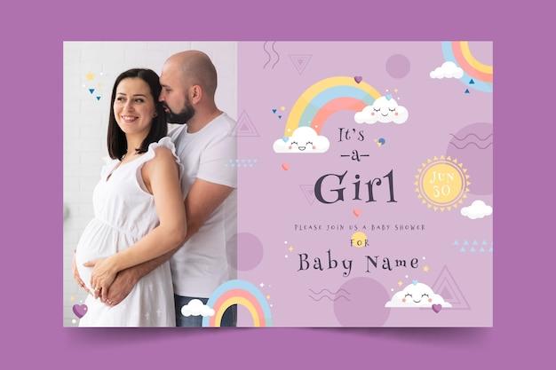 Modelo de cartão de chuveiro de bebê para menina com foto