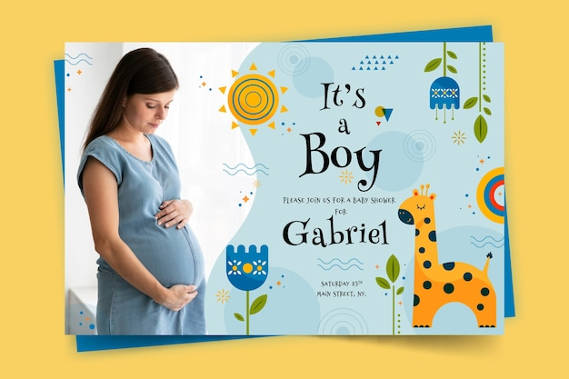 Modelo de cartão de chuveiro de bebê para menino com foto