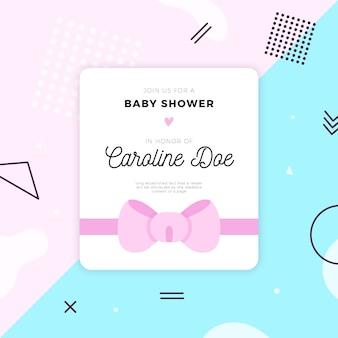 Modelo de cartão de chuveiro de bebê