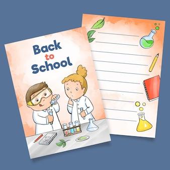 Modelo de cartão de cientistas de volta à escola