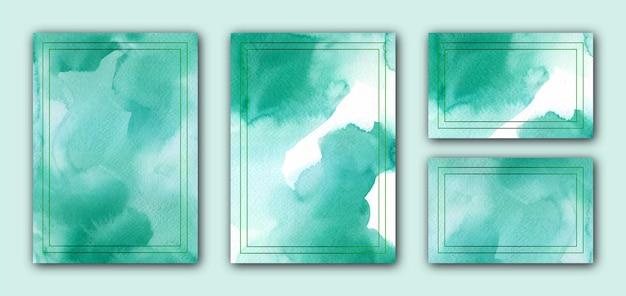Modelo de cartão de convite aquarela verde com moldura
