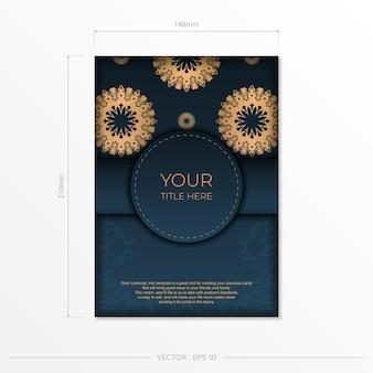 Modelo de cartão de convite azul escuro com ornamento abstrato. elementos do vetor elegantes e clássicos prontos para impressão e tipografia.