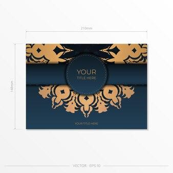Modelo de cartão de convite azul escuro com ornamento abstrato. elementos elegantes e clássicos prontos para impressão e tipografia. ilustração vetorial.