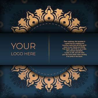 Modelo de cartão de convite azul escuro com ornamento abstrato. elementos elegantes e clássicos são ótimos para decoração. ilustração vetorial.