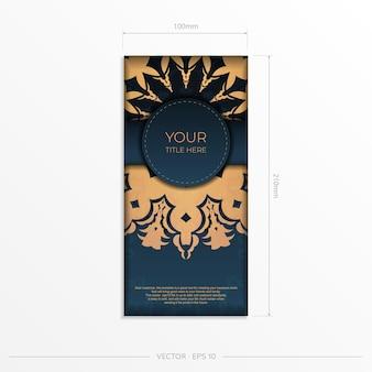 Modelo de cartão de convite azul escuro com ornamentos indianos. elementos elegantes e clássicos prontos para impressão e tipografia. ilustração vetorial.