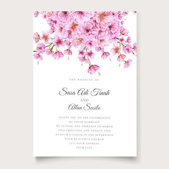Modelo de cartão de convite bonito flor de cerejeira
