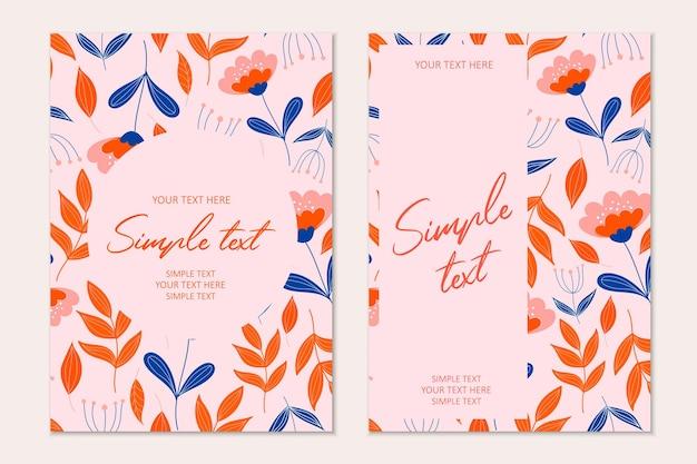 Modelo de cartão de convite botânico moderno com folhas de laranja. cartões com espaço para texto.