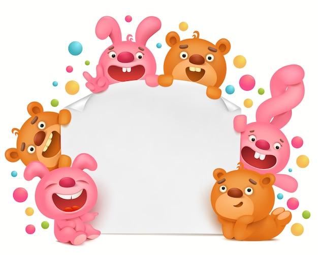 Modelo de cartão de convite com animais de brinquedo engraçado dos desenhos animados