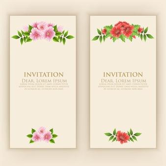 Modelo de cartão de convite com decoração elegante flor