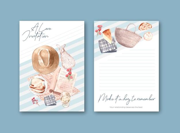 Modelo de cartão de convite com design de conceito europeu de piquenique para festa e reunião de ilustração em aquarela.