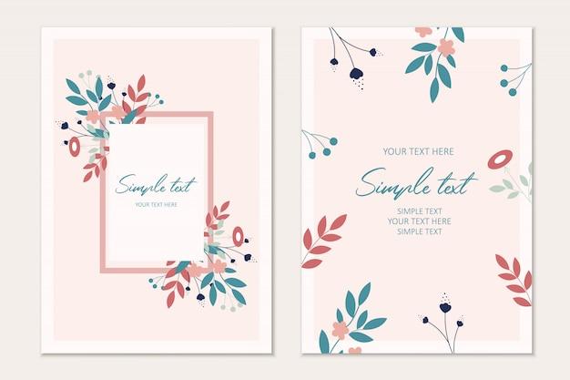 Modelo de cartão de convite com folhas e flowrs