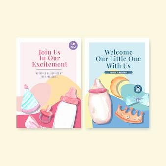 Modelo de cartão de convite com ilustração em vetor aquarela conceito de design do chuveiro de bebê.