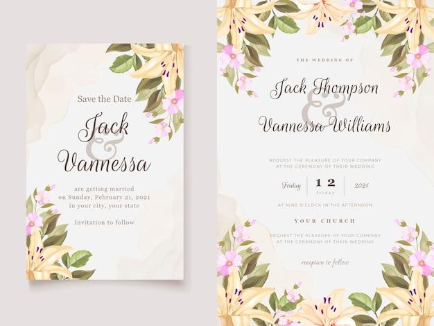 Modelo de cartão de convite com lindas flores de lírio floral